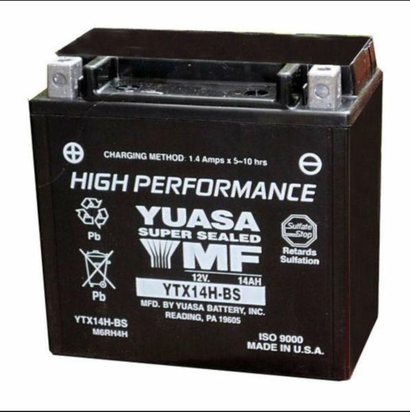 yuasa maintenance free high performance atv battery YTX14H-BS