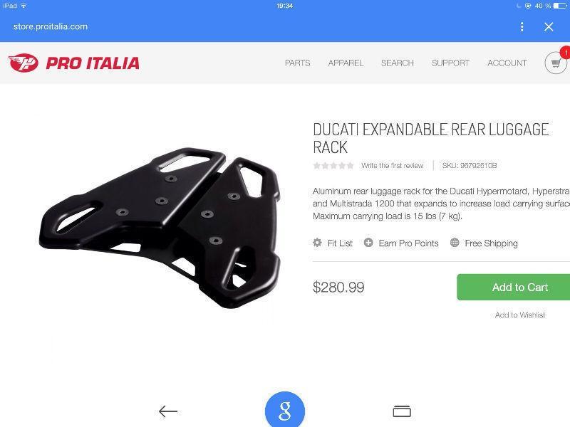 Rack, porte-bagages Ducati