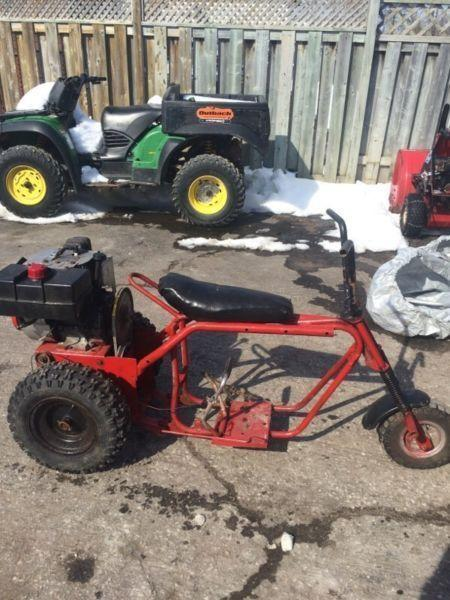 3 wheeler made from snow blower and mini bike with extra motor