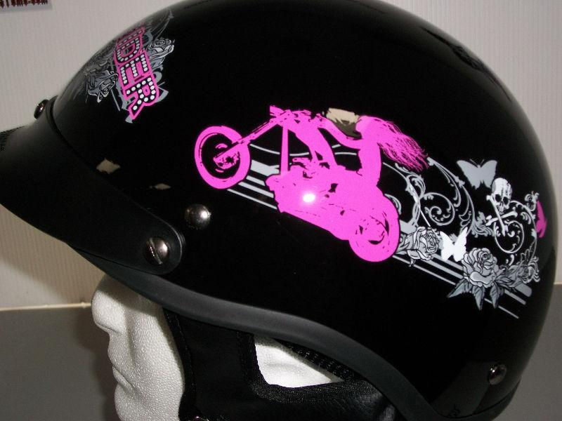 HLD Gloss Black Lady Rider Design, Beanie Helmet, Large