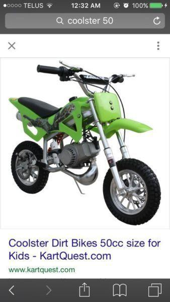 Wanted: Looking for 50cc 2 stroke coolster Kids bike