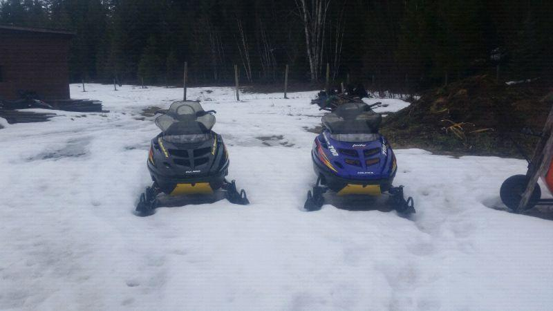 Two Polaris rmk sleds. Get ready for next year!