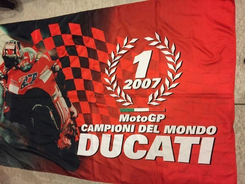 Ducati gear, track umbrella, pit shirt and sweater