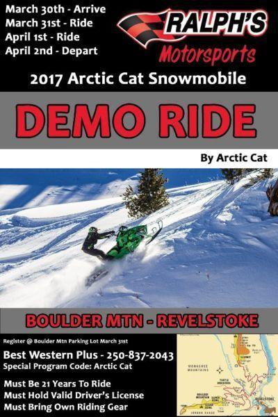 2017 Arctic Cat Snowmobile DEMO RIDE - March 31 & April 1