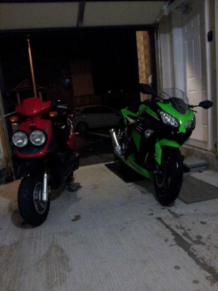 2013 Kawasaki Ninja 300 and 2004 Yamaha BW50
