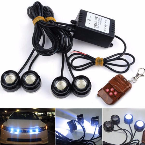 4X LED Eagle Eye Knight Night Rider Lighting DRL With Remote