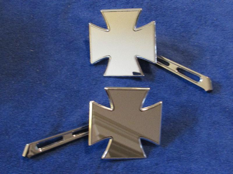 Universal mount Chrome Iron Cross Mirror set - new