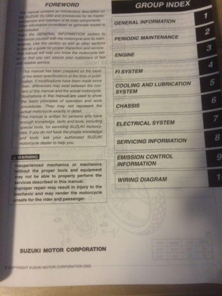 2002 Suzuki VStrom DL1000 Service Manual