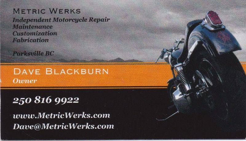 Motorcycle Mechanic, Metric Specialty. Mobile Service