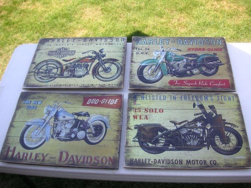 4 WOOD HARLEY SIGNS